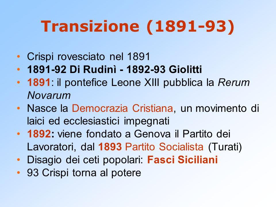 Transizione (1891-93) Crispi rovesciato nel 1891