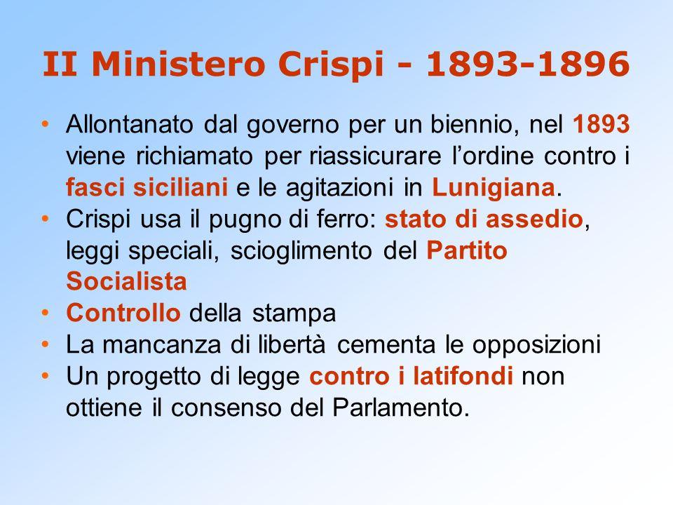 II Ministero Crispi - 1893-1896