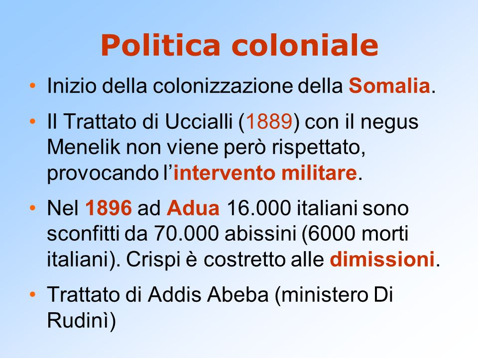 Politica coloniale Inizio della colonizzazione della Somalia.