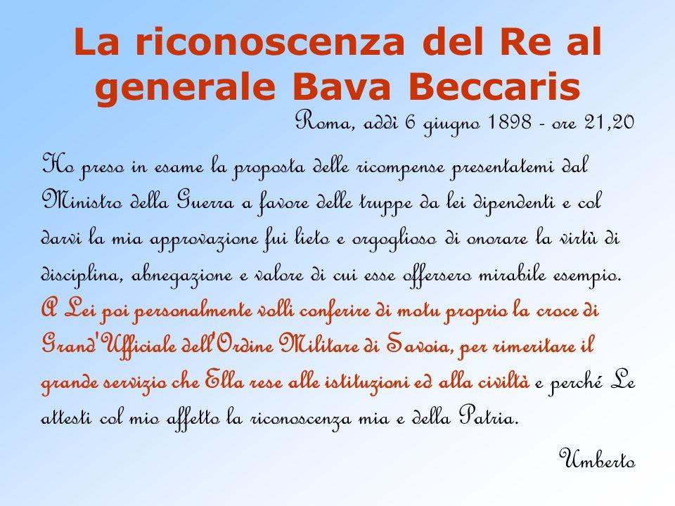 La riconoscenza del Re al generale Bava Beccaris