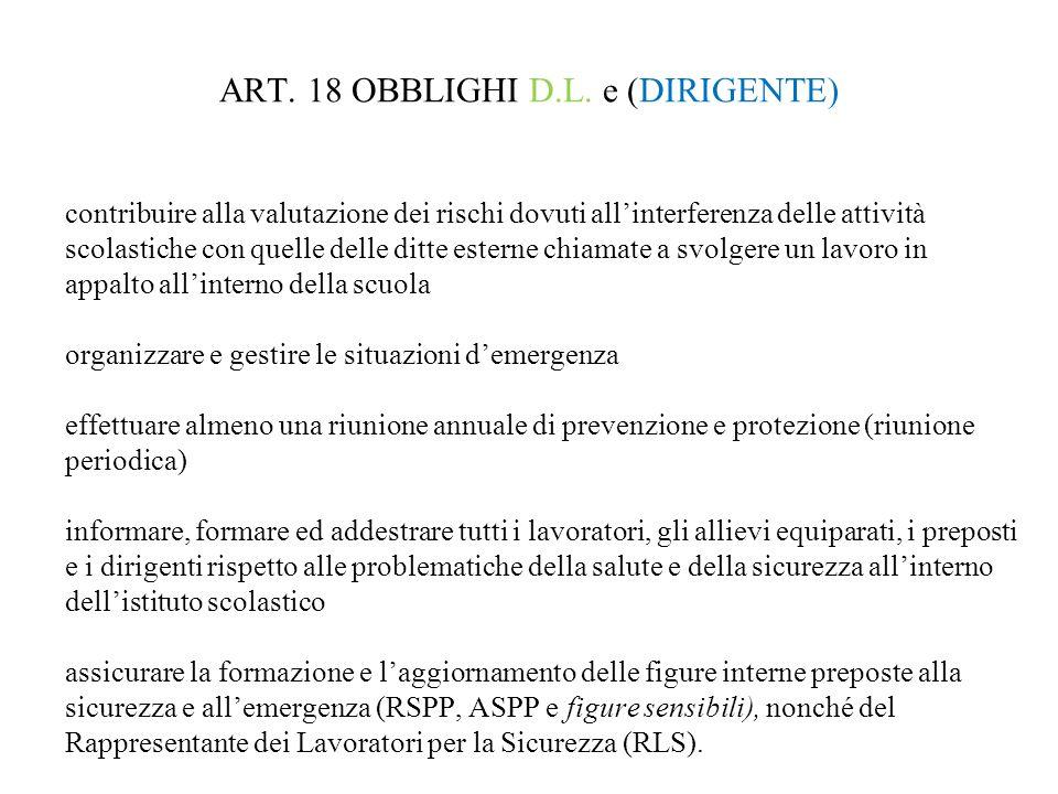 ART. 18 OBBLIGHI D.L. e (DIRIGENTE)