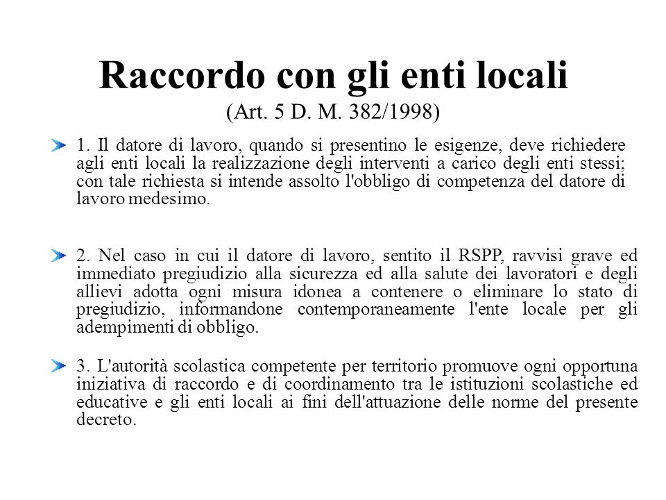Raccordo con gli enti locali (Art. 5 D. M. 382/1998)