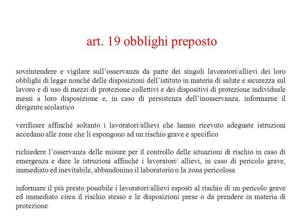 art. 19 obblighi preposto