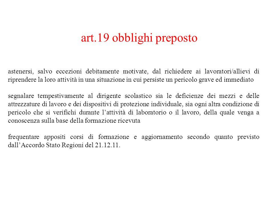 art.19 obblighi preposto