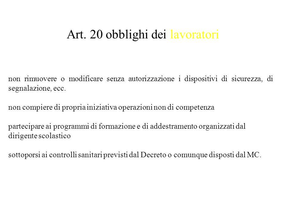 Art. 20 obblighi dei lavoratori