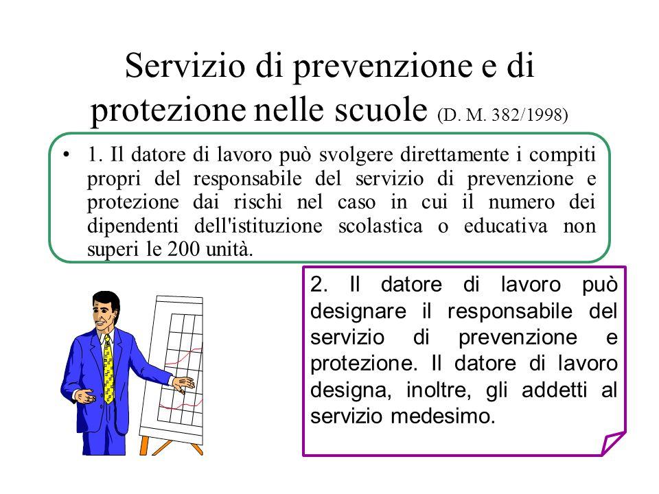 Servizio di prevenzione e di protezione nelle scuole (D. M. 382/1998)