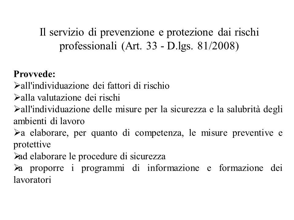 Il servizio di prevenzione e protezione dai rischi professionali (Art