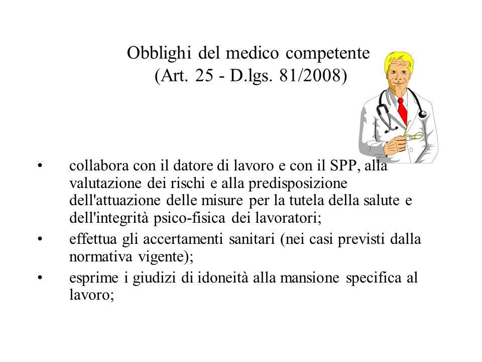 Obblighi del medico competente (Art. 25 - D.lgs. 81/2008)