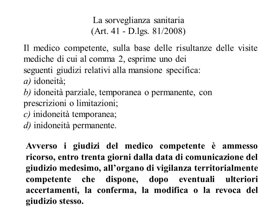 La sorveglianza sanitaria (Art. 41 - D.lgs. 81/2008)