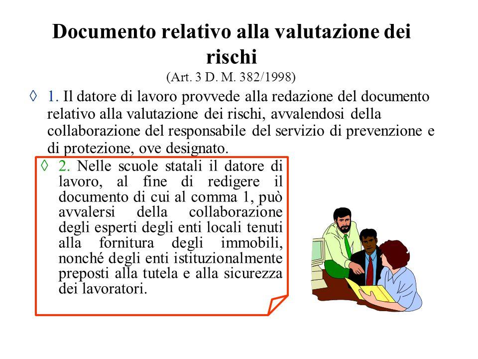 Documento relativo alla valutazione dei rischi (Art. 3 D. M. 382/1998)