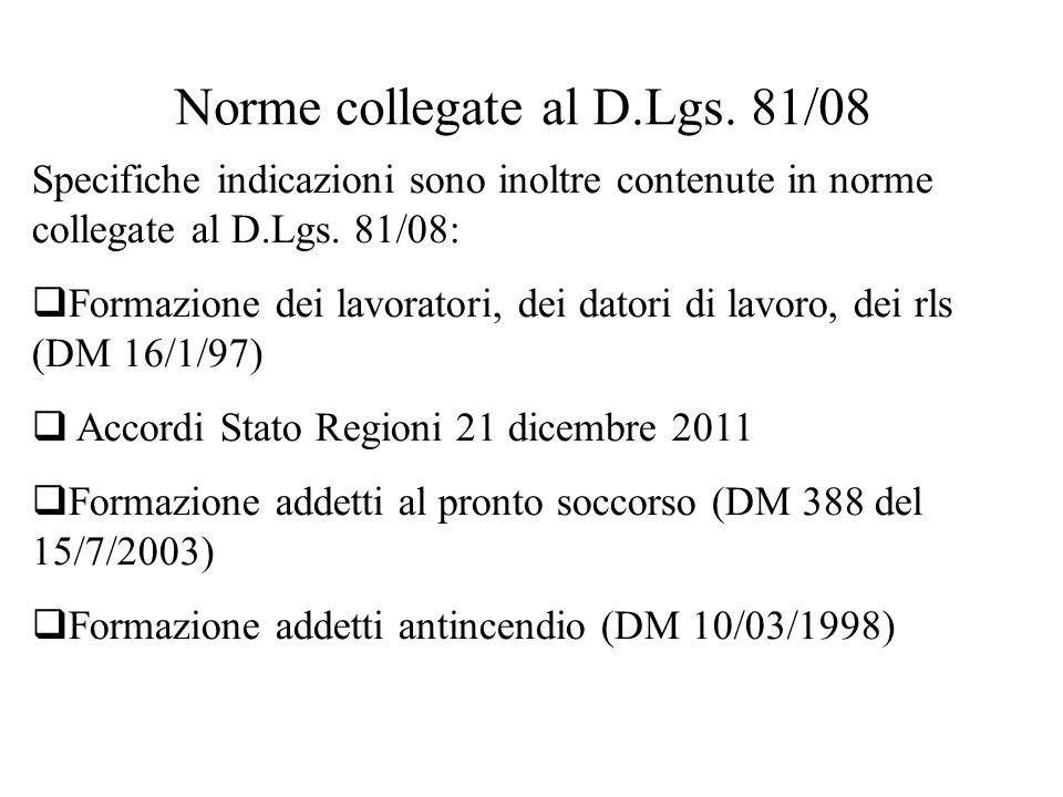 Norme collegate al D.Lgs. 81/08