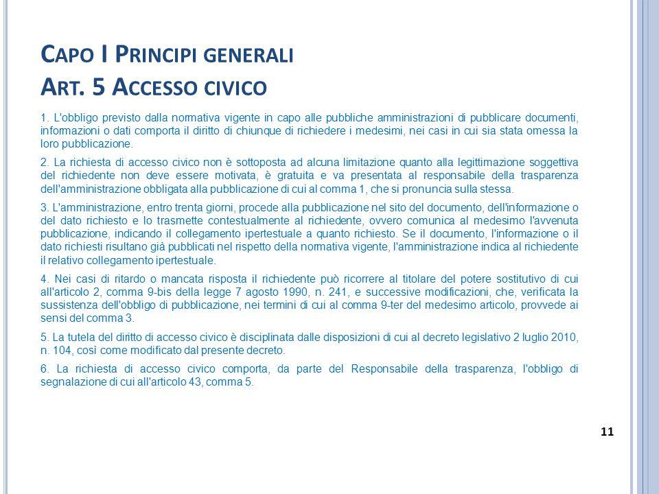 Capo I Principi generali Art. 5 Accesso civico