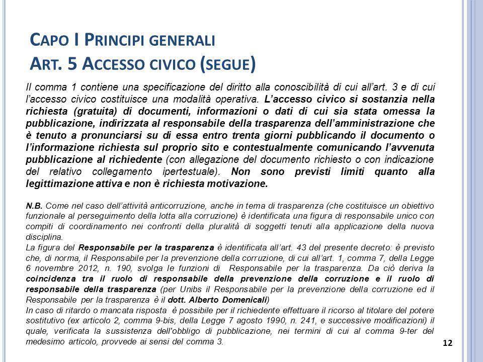 Capo I Principi generali Art. 5 Accesso civico (segue)