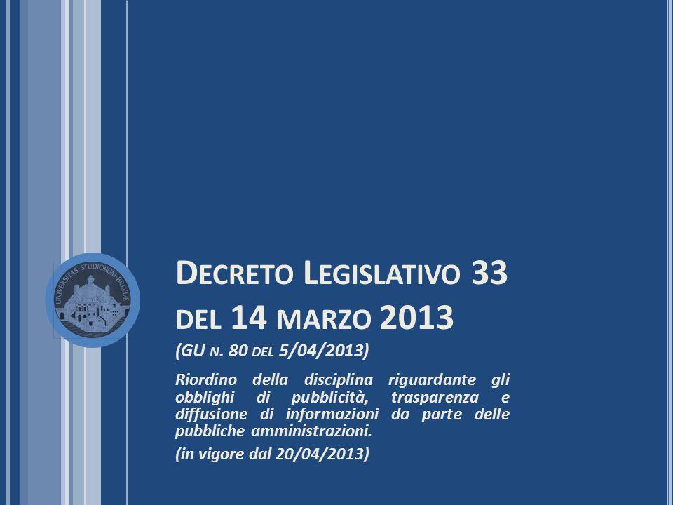 Decreto Legislativo 33 del 14 marzo 2013 (GU n. 80 del 5/04/2013)