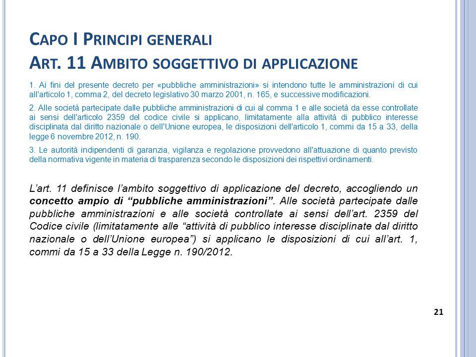 Capo I Principi generali Art. 11 Ambito soggettivo di applicazione