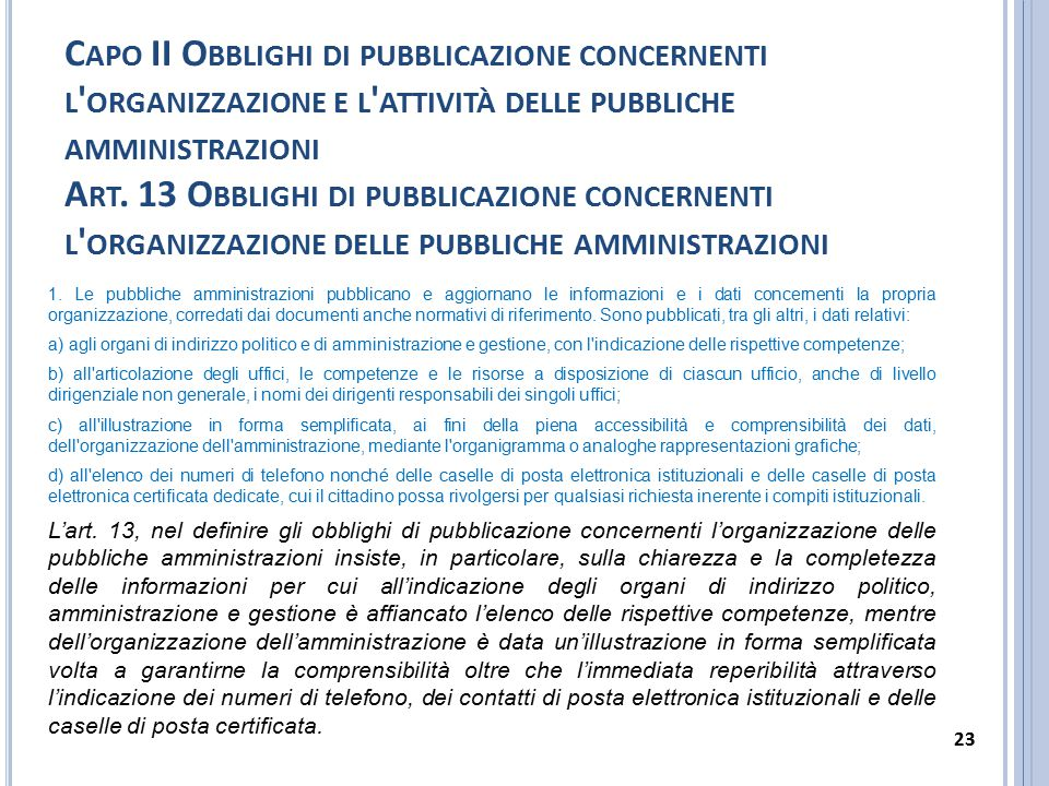 Capo II Obblighi di pubblicazione concernenti l organizzazione e l attività delle pubbliche amministrazioni Art. 13 Obblighi di pubblicazione concernenti l organizzazione delle pubbliche amministrazioni