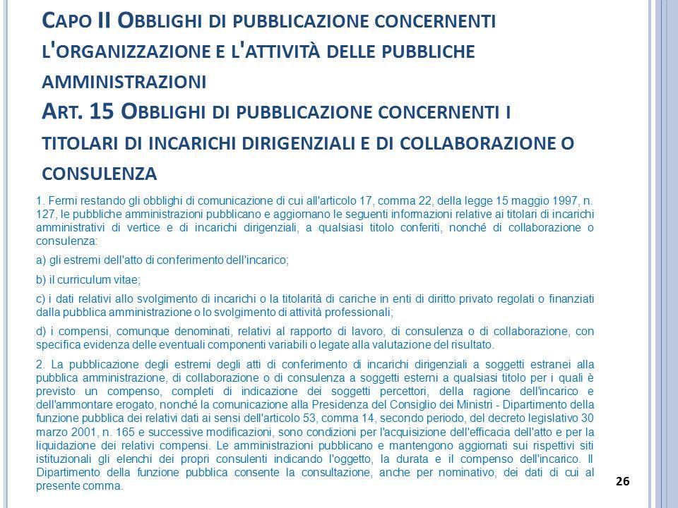Capo II Obblighi di pubblicazione concernenti l organizzazione e l attività delle pubbliche amministrazioni Art. 15 Obblighi di pubblicazione concernenti i titolari di incarichi dirigenziali e di collaborazione o consulenza