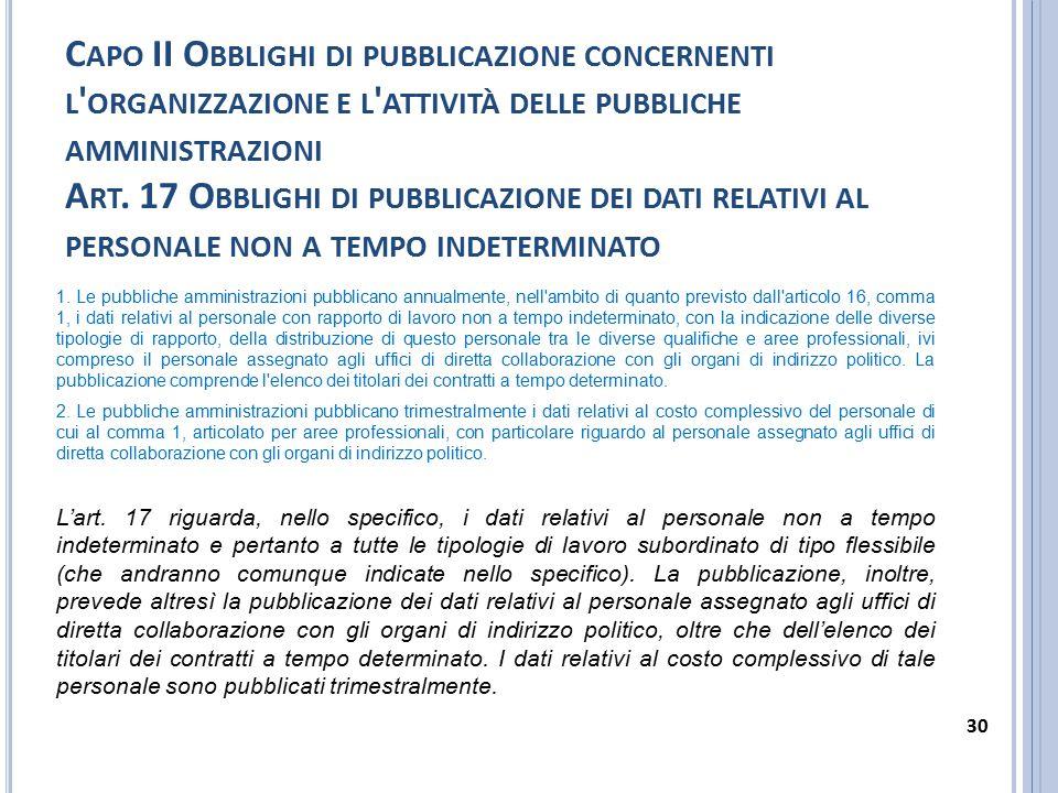 Capo II Obblighi di pubblicazione concernenti l organizzazione e l attività delle pubbliche amministrazioni Art. 17 Obblighi di pubblicazione dei dati relativi al personale non a tempo indeterminato