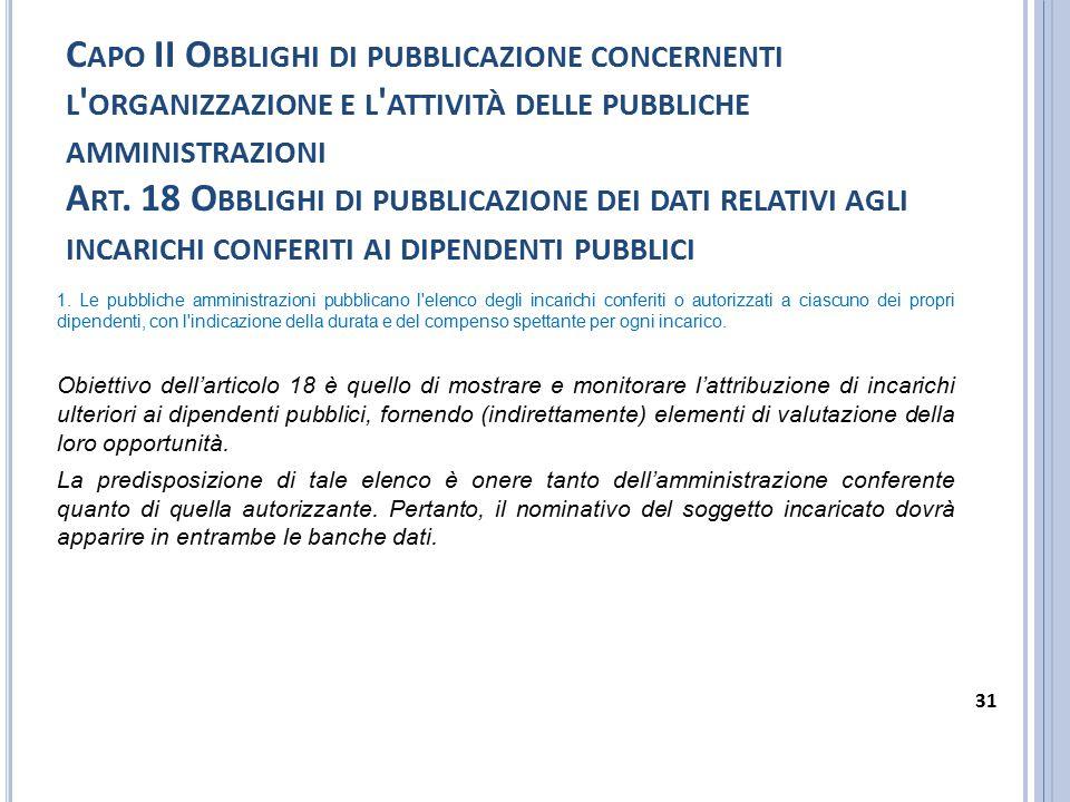 Capo II Obblighi di pubblicazione concernenti l organizzazione e l attività delle pubbliche amministrazioni Art. 18 Obblighi di pubblicazione dei dati relativi agli incarichi conferiti ai dipendenti pubblici