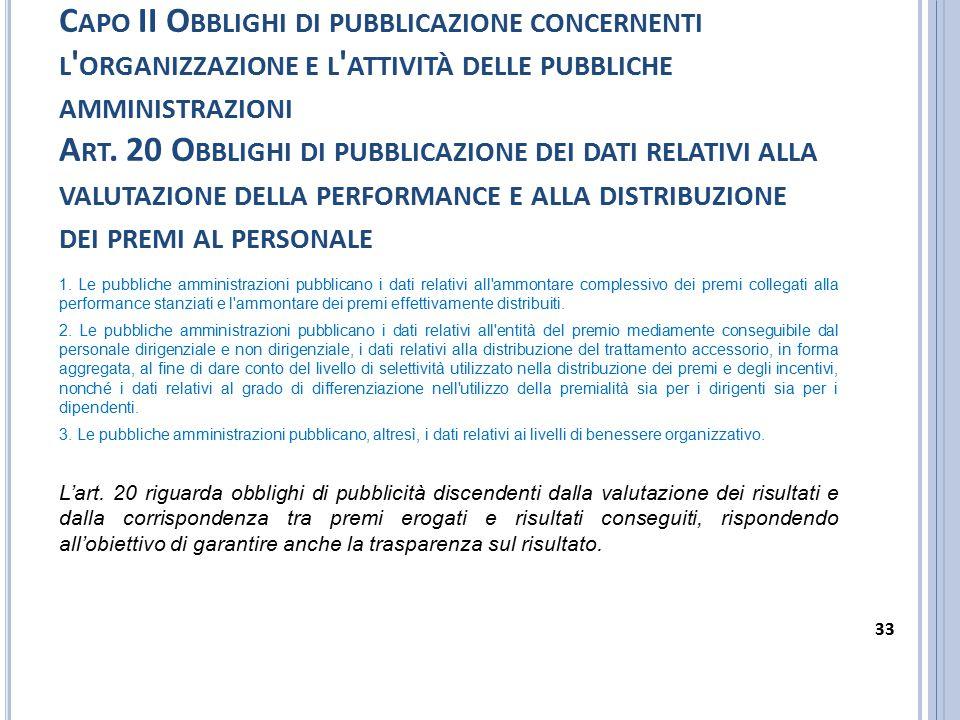 Capo II Obblighi di pubblicazione concernenti l organizzazione e l attività delle pubbliche amministrazioni Art. 20 Obblighi di pubblicazione dei dati relativi alla valutazione della performance e alla distribuzione dei premi al personale