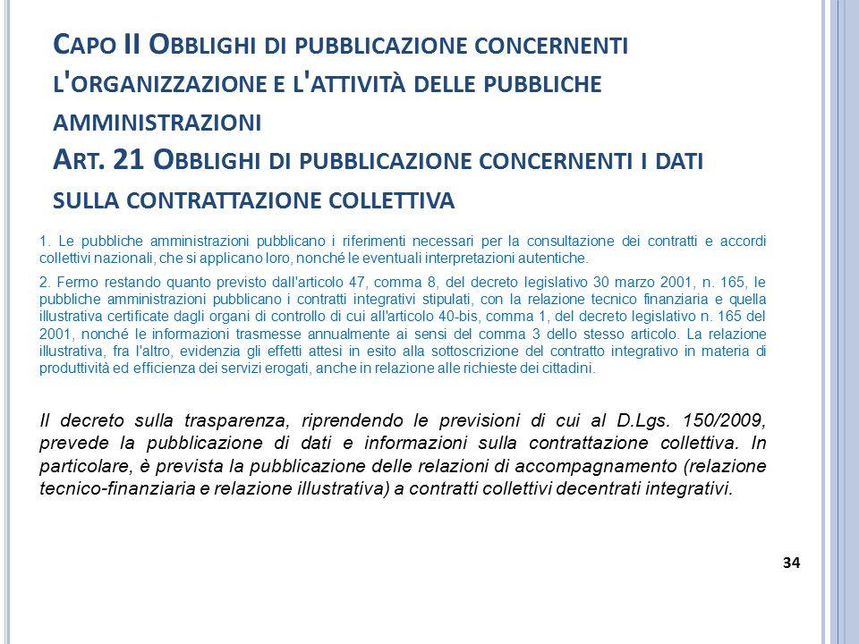 Capo II Obblighi di pubblicazione concernenti l organizzazione e l attività delle pubbliche amministrazioni Art. 21 Obblighi di pubblicazione concernenti i dati sulla contrattazione collettiva