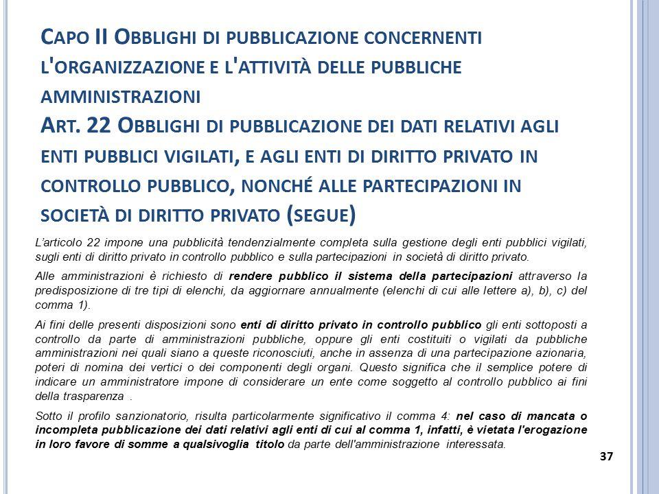 Capo II Obblighi di pubblicazione concernenti l organizzazione e l attività delle pubbliche amministrazioni Art. 22 Obblighi di pubblicazione dei dati relativi agli enti pubblici vigilati, e agli enti di diritto privato in controllo pubblico, nonché alle partecipazioni in società di diritto privato (segue)