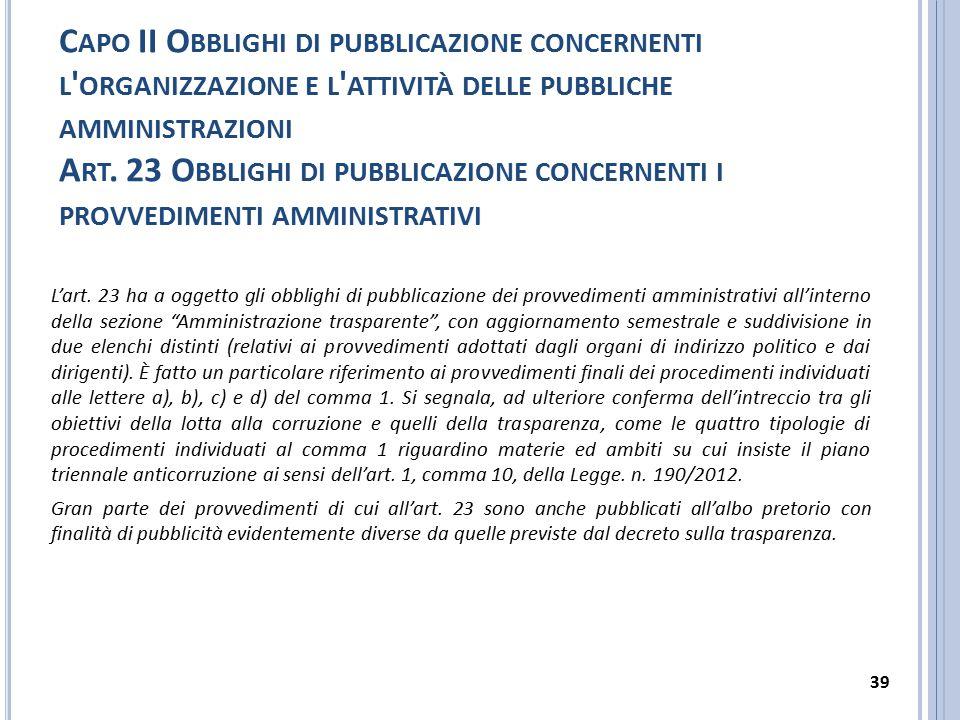 Capo II Obblighi di pubblicazione concernenti l organizzazione e l attività delle pubbliche amministrazioni Art. 23 Obblighi di pubblicazione concernenti i provvedimenti amministrativi