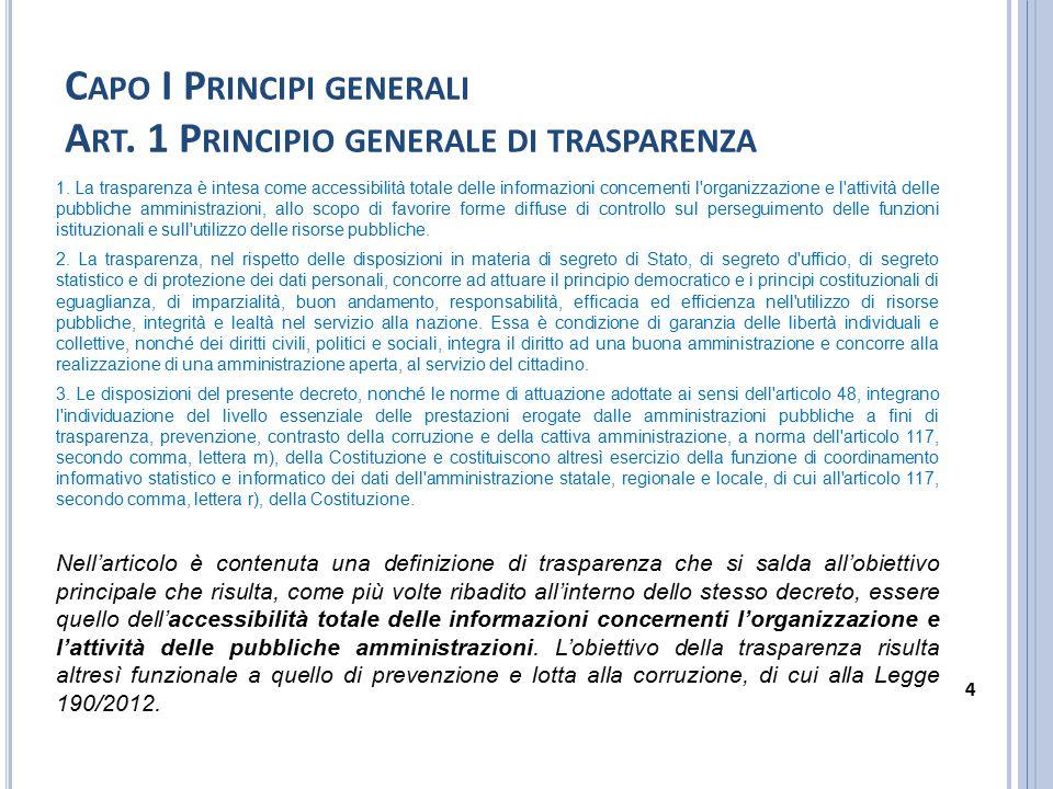 Capo I Principi generali Art. 1 Principio generale di trasparenza