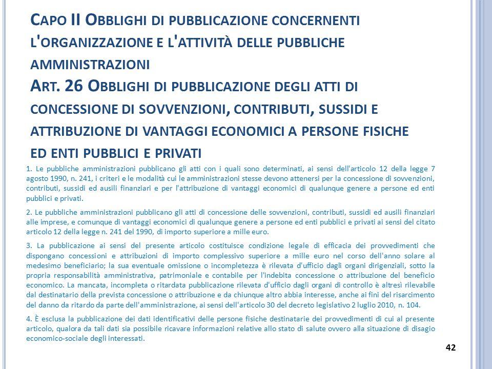 Capo II Obblighi di pubblicazione concernenti l organizzazione e l attività delle pubbliche amministrazioni Art. 26 Obblighi di pubblicazione degli atti di concessione di sovvenzioni, contributi, sussidi e attribuzione di vantaggi economici a persone fisiche ed enti pubblici e privati