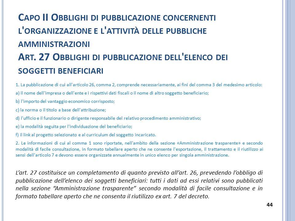 Capo II Obblighi di pubblicazione concernenti l organizzazione e l attività delle pubbliche amministrazioni Art. 27 Obblighi di pubblicazione dell elenco dei soggetti beneficiari