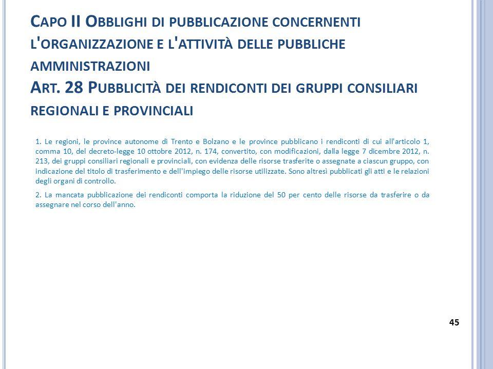 Capo II Obblighi di pubblicazione concernenti l organizzazione e l attività delle pubbliche amministrazioni Art. 28 Pubblicità dei rendiconti dei gruppi consiliari regionali e provinciali