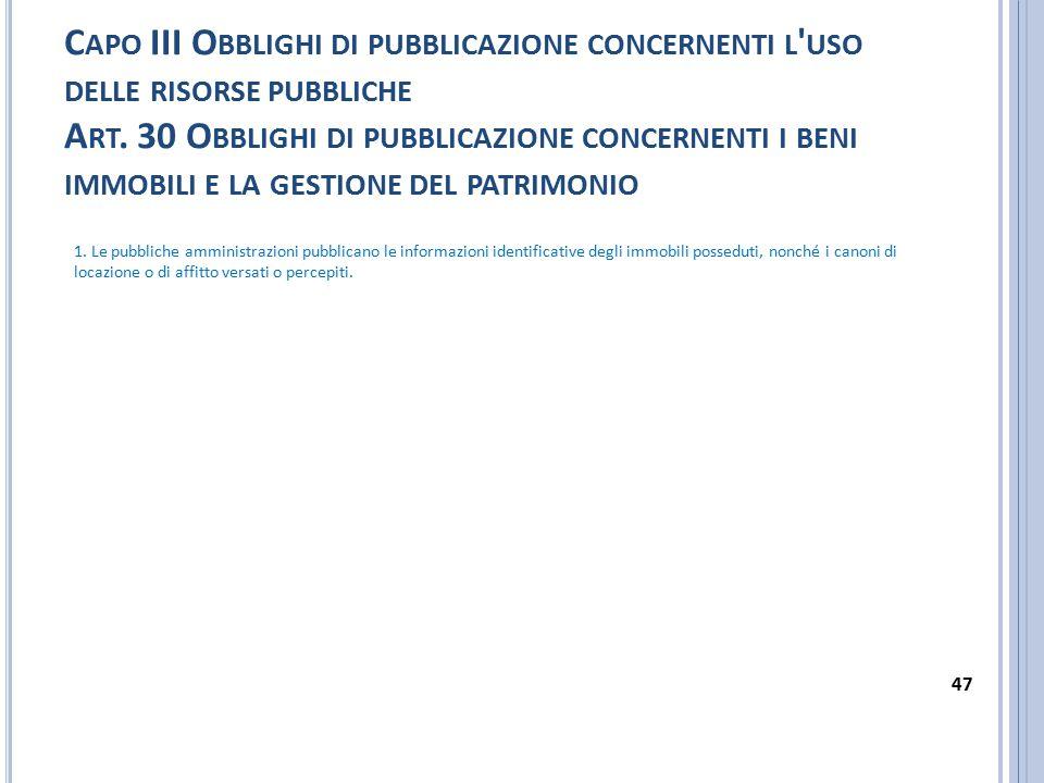 Capo III Obblighi di pubblicazione concernenti l uso delle risorse pubbliche Art. 30 Obblighi di pubblicazione concernenti i beni immobili e la gestione del patrimonio