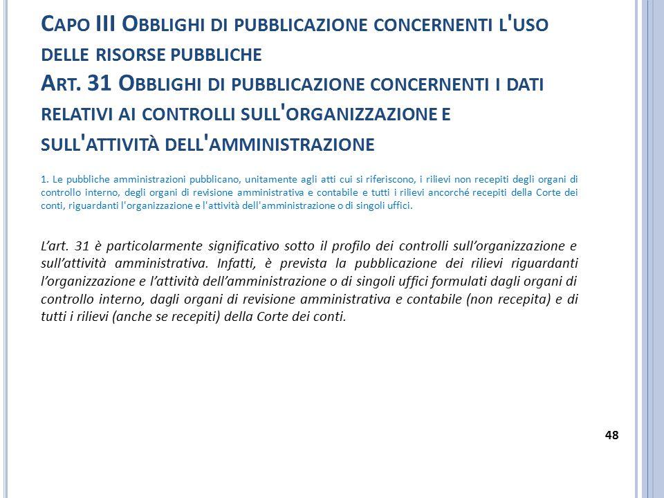 Capo III Obblighi di pubblicazione concernenti l uso delle risorse pubbliche Art. 31 Obblighi di pubblicazione concernenti i dati relativi ai controlli sull organizzazione e sull attività dell amministrazione