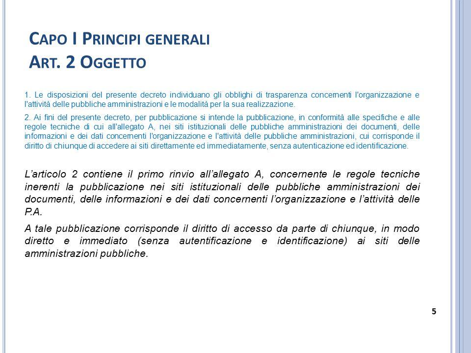 Capo I Principi generali Art. 2 Oggetto