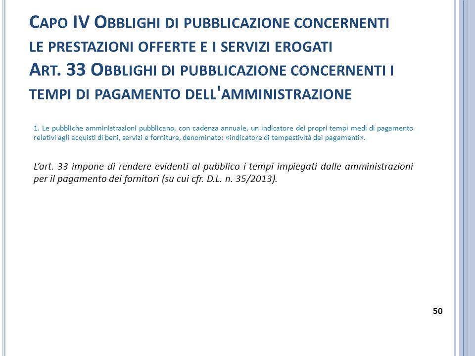 Capo IV Obblighi di pubblicazione concernenti le prestazioni offerte e i servizi erogati Art. 33 Obblighi di pubblicazione concernenti i tempi di pagamento dell amministrazione