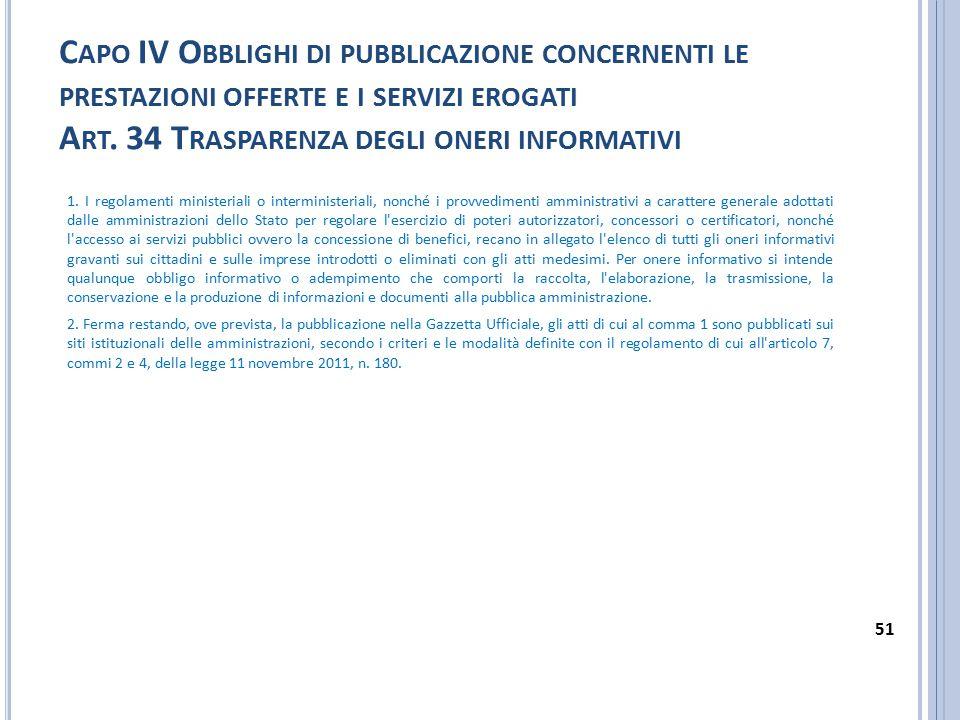 Capo IV Obblighi di pubblicazione concernenti le prestazioni offerte e i servizi erogati Art. 34 Trasparenza degli oneri informativi