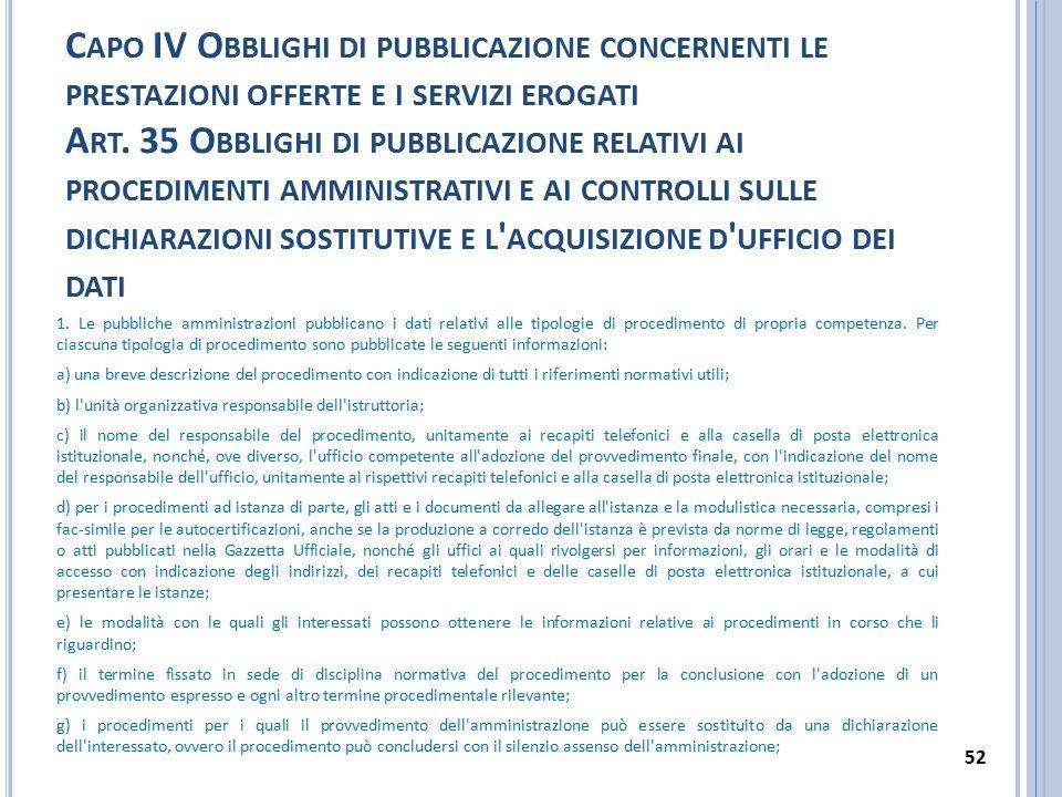 Capo IV Obblighi di pubblicazione concernenti le prestazioni offerte e i servizi erogati Art. 35 Obblighi di pubblicazione relativi ai procedimenti amministrativi e ai controlli sulle dichiarazioni sostitutive e l acquisizione d ufficio dei dati