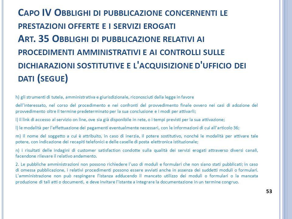 Capo IV Obblighi di pubblicazione concernenti le prestazioni offerte e i servizi erogati Art. 35 Obblighi di pubblicazione relativi ai procedimenti amministrativi e ai controlli sulle dichiarazioni sostitutive e l acquisizione d ufficio dei dati (segue)