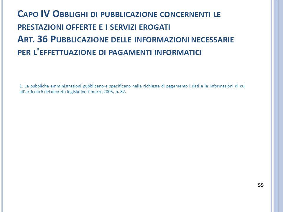 Capo IV Obblighi di pubblicazione concernenti le prestazioni offerte e i servizi erogati Art. 36 Pubblicazione delle informazioni necessarie per l effettuazione di pagamenti informatici