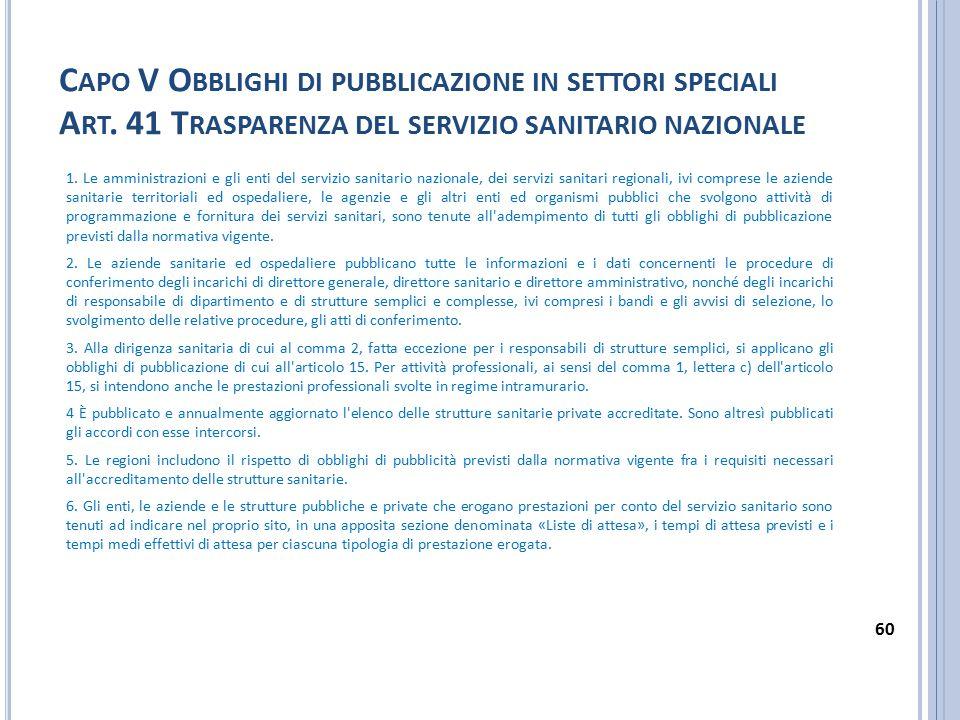Capo V Obblighi di pubblicazione in settori speciali Art