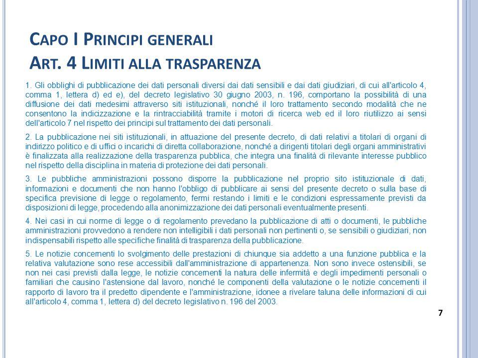 Capo I Principi generali Art. 4 Limiti alla trasparenza