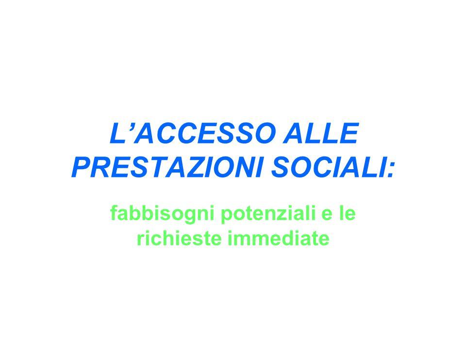L'ACCESSO ALLE PRESTAZIONI SOCIALI: