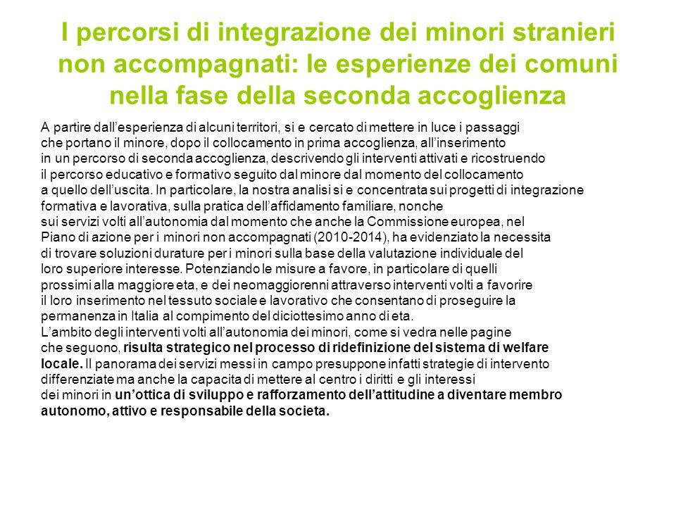 I percorsi di integrazione dei minori stranieri non accompagnati: le esperienze dei comuni nella fase della seconda accoglienza