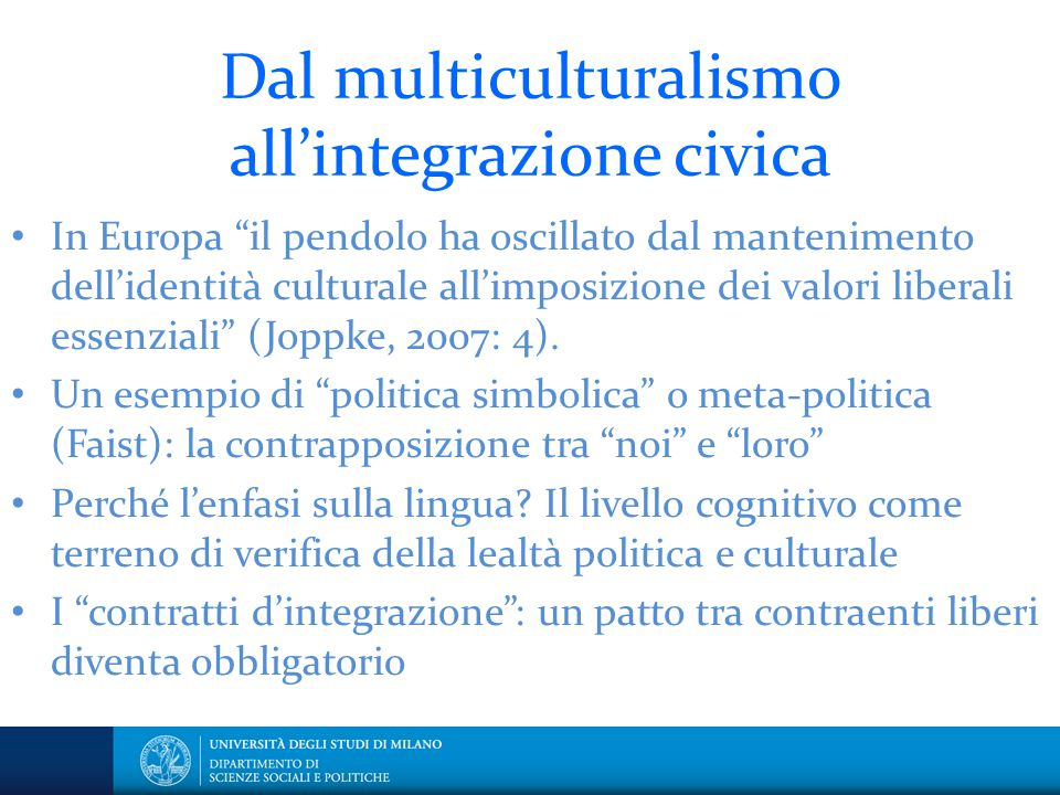 Dal multiculturalismo all'integrazione civica