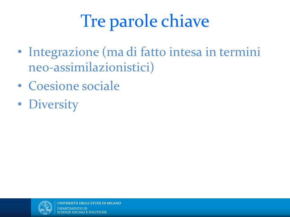 Tre parole chiave Integrazione (ma di fatto intesa in termini neo-assimilazionistici) Coesione sociale.