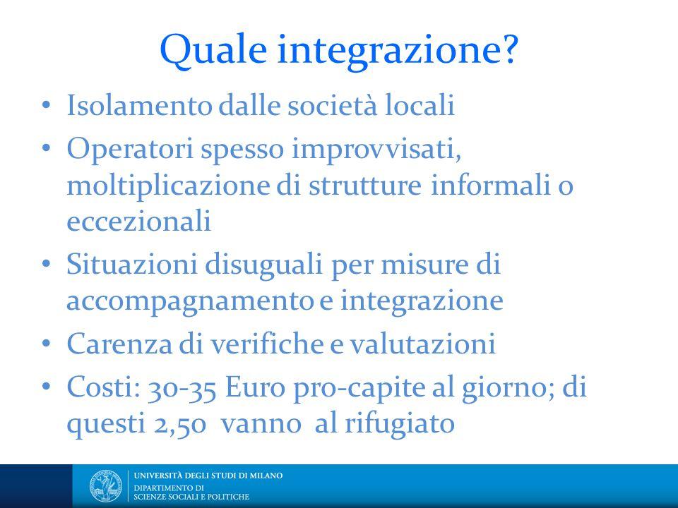 Quale integrazione Isolamento dalle società locali