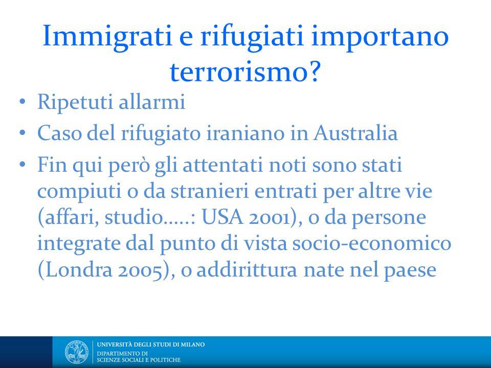 Immigrati e rifugiati importano terrorismo