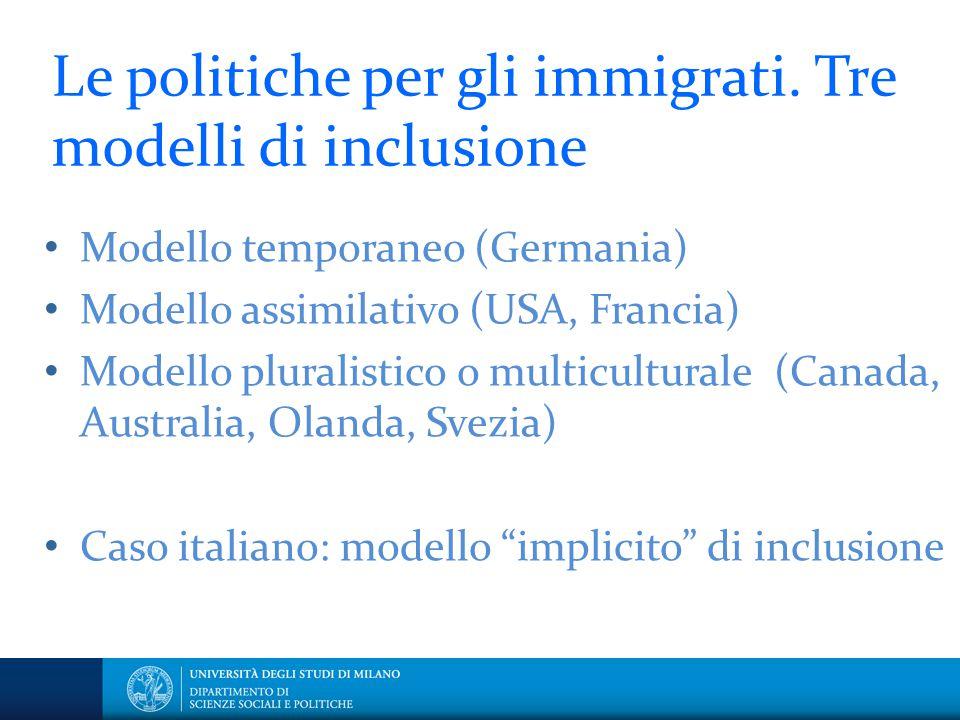 Le politiche per gli immigrati. Tre modelli di inclusione