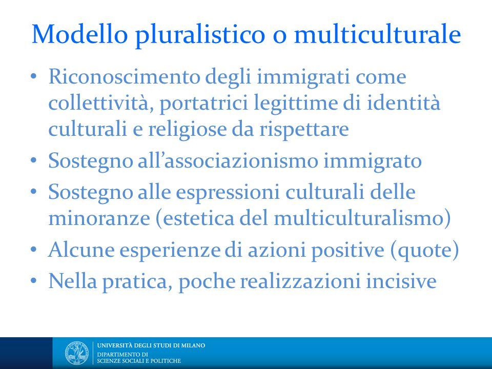 Modello pluralistico o multiculturale
