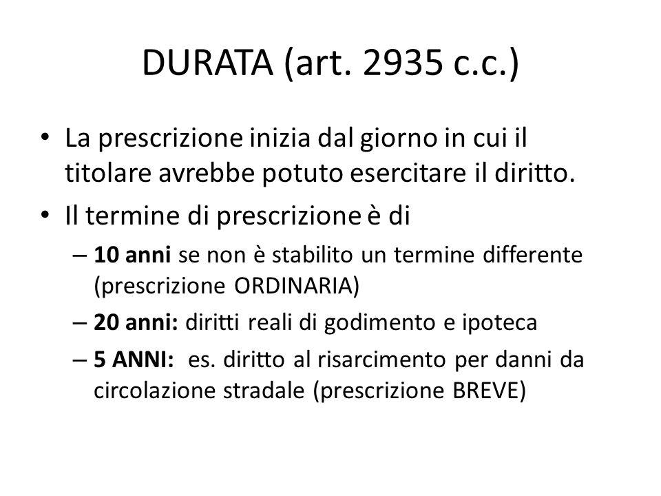 DURATA (art. 2935 c.c.) La prescrizione inizia dal giorno in cui il titolare avrebbe potuto esercitare il diritto.